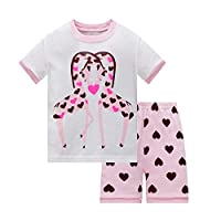 Huata Girls Pajamas Sleepwears 2 Piece 100% Cotton (8, Giraffe)