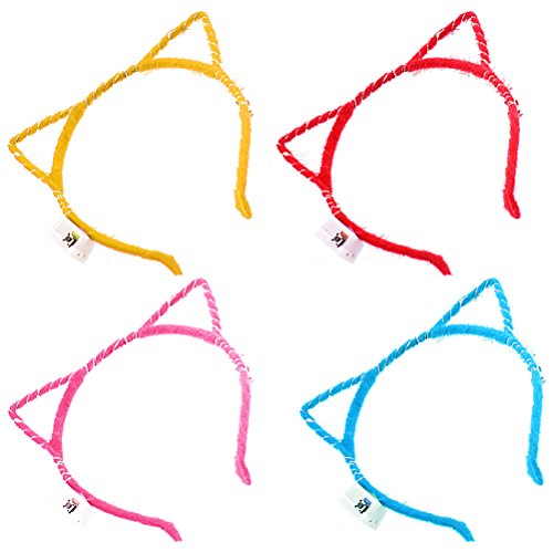 LUOEM LED Cat Ears Headband Color LED Light Up Costume Cat Ears Hair Hoop for Halloween Birthday Masquerade Party Cosplay Costume Accessory - 4 Pack -