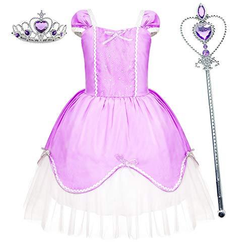 Princess Dresses (Elsa,Snow,Belle,Little Mermaid,Anna,Cinderella,Rapunzel,Aurora) Costumes for Toddler Girls(3T Height 43
