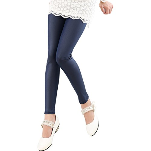 Tulucky Girls Stretchy Faux Leather Legging Teens Pants(darkblue,Tag140) by Tulucky