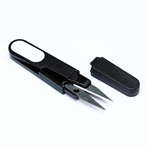 MFINHOME 2PCS Black Mini Spring Scissors U Shape Scissor Beading Thread Cutter Fishing Line U Sewing Scissors with Cap