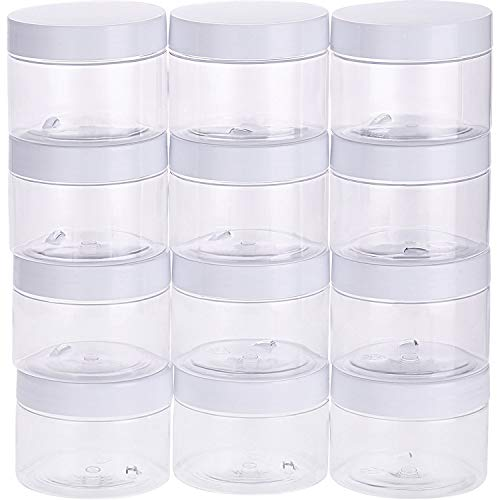 Empty 12 Pack Clear Plastic Slime Storage Favor Jars Wide-Mouth Plastic Containers with Lids for Beauty Products, DIY Slime Making or Others (6 Ounce, White)