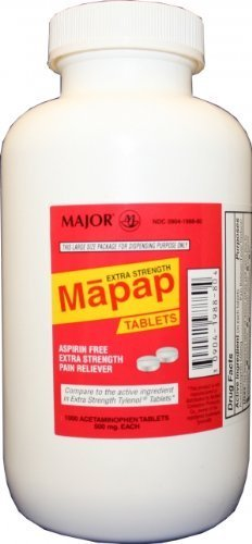 Extra Strength Mapap (Generic extra strength Tylenol) 1000 Tablets (500mg) by Extra Strength Tylenol -  Major Pharmaceuticals