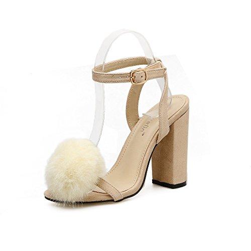 de pelota ZHZNVX El tacón sandalias áspero nuevo pelo salvaje alto lana apricot de y a1vawrxnq