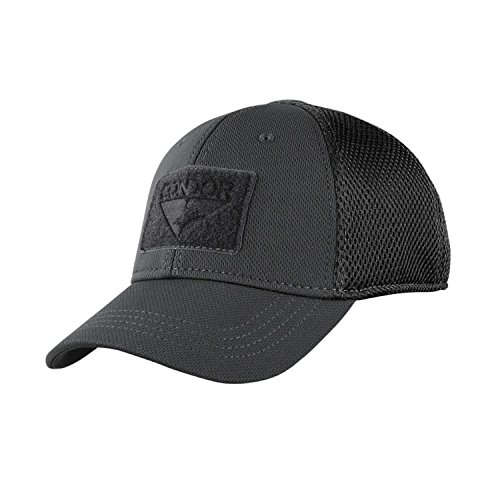 Condor Flex Mesh Cap (BLACK), Breathable Fitted Tactical Operator Hat (L/XL)