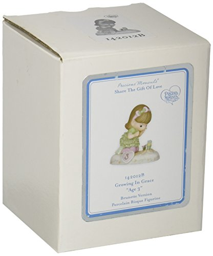 (Precious Moments,  Growing In Grace, Age 3, Bisque Porcelain Figurine, Brunette Girl, 142012B)