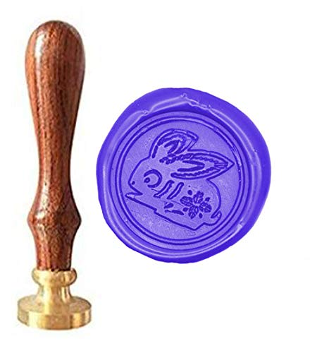MNYR Vintage Chinese Zodiac Rabbit Wax Seal Sealing Stamp Kit with Rosewood Handle ] Ideal for Decorating Gift Packing, Envelopes, Parcels, Cards, Letetrs, Wedding Invitations Seal Stamp Set