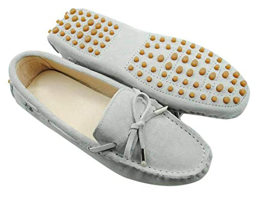 LL STUDIO Womens Casual Bowknot Light Grey Suede/Leather Driving Walking Penny Loafers Boat Shoes 6.5 M US -  LL STUDIO-YIBU9602-Light Grey-Suede37