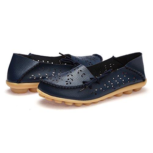 BTDREAM Damen Leder Slip-On Loafers Mokassins beiläufige flache treibende Bootsschuhe mit Memory-Foam-Einlegesohle 001-Marine
