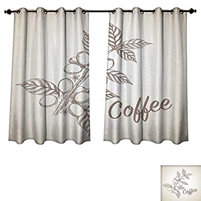RuppertTextile Coffee Blackout Curtains Panels for Bedroom Monochrome Sketch Branch with Leaves and Beans Agricultural Components Coffee Decorative Curtains Pale Tan Cocoa