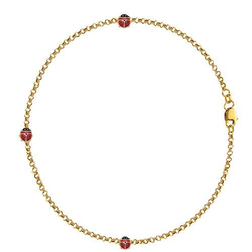14k Ladybug Charm Bracelet (14K Real Gold Rolo Ladybug Lady Bug Good Luck Charm Bracelet Enamel 7 Inches)