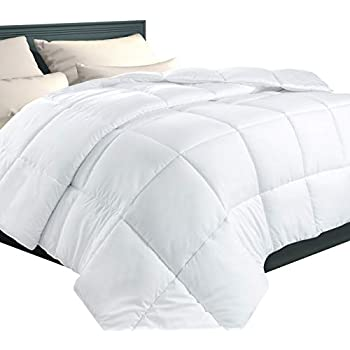 EcoMozz Full/Queen Comforter with Corner Tabs - All Season Down Alternative Comforter - Soft Warm Quilted Duvet Insert - Hypoallergenic Fluffy Hotel ...