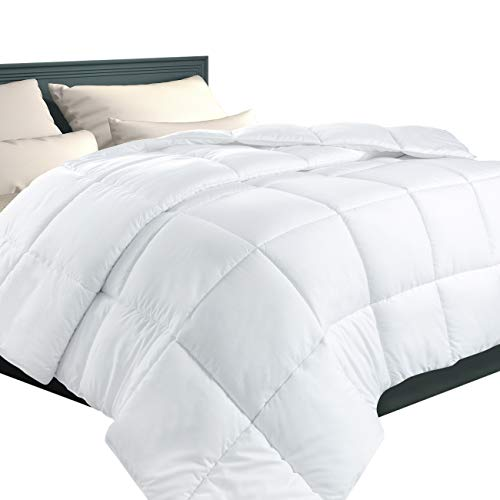 EcoMozz Full/Queen Comforter with Corner Tabs - All Season Down Alternative Comforter - Soft Warm Quilted Duvet Insert - Hypoallergenic Fluffy Hotel Collection - White