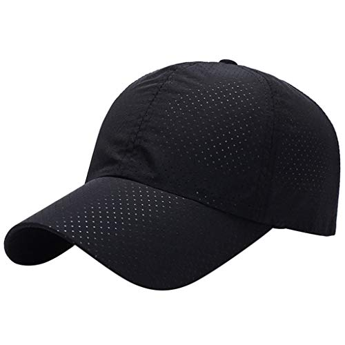 Sunshinehomely Outdoor Sport Running Baseball Mesh Hat Men Women Quick-Drying Summer Visor Cap (Black)