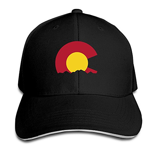 Big Colorado Flag Mountains Black Adjustable Snapback Caps Unisex Sandwich Hats