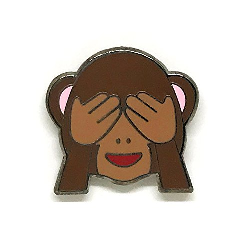 PinMaze Collections Emoji See No Evil Cheeky Covering Eyes Emoji Enamel Pin Set (Left Eye Halloween Costume Ideas)