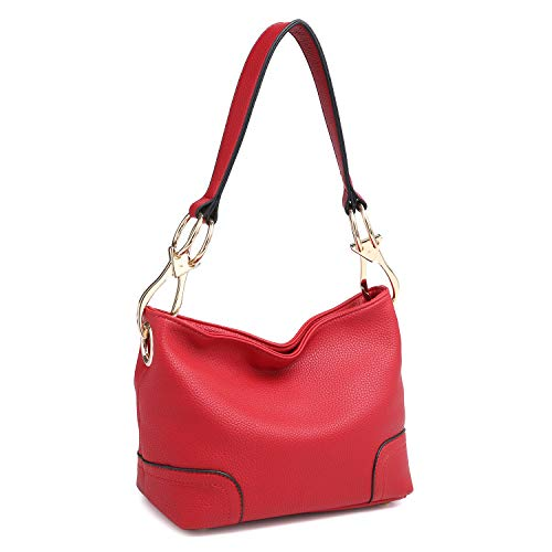 Dasein Women's Classic Faux Leather Hobo Purse Shoulder Bag Tote Handbag (7967 Smaller Style- Red)