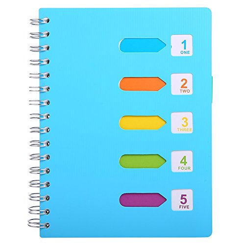 """5 Subject Notebook, A5 Notebooks and Journals Spiral Bund, Wide Ruled, Lab Professional Notepad, Colored Dividers With Tabs, 5.7""""×8.27"""", 240 pages, Hardcover Memo Planner for School Kids Girls Women - Dividers Multi 5 Tab"""