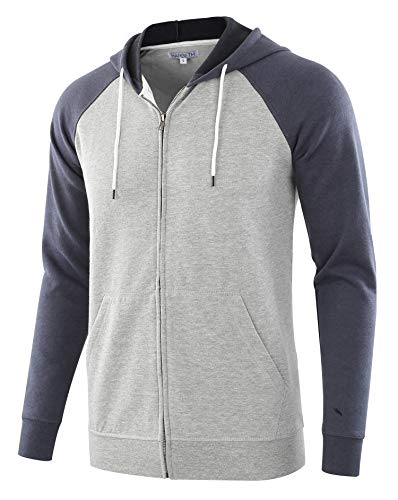 (HARBETH Men's Athletic Fit Full Zip Fleece Hooded Sweatshirt Active Hoodie H.Gray/C.Blue L)