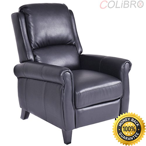 COLIBROX--Leather Recliner Accent Chair Push Back Living Room Home Furniture w/ Leg Rests. best push back recliner. recliner chair walmart. leather recliners on sale.decorative chairs for living room. -