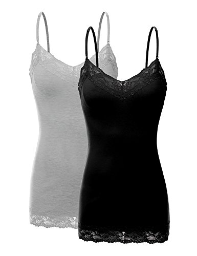 RT1004 Pack Ladies Adjustable Spaghetti Strap Lace Tunic Camisole 2Pack-BLK/HE.GRY S ()