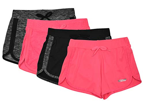 Hind Girls 4-Pack Athletic and Running Activewear Shorts, Black/N.pink/Pink/Charcoal, Medium (10/12)