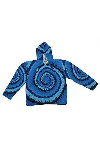 Tie Dye Baja Pull Over Hoodie Sublimated Print Drug Rug Blue 2X