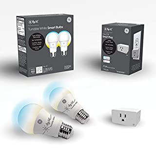 C by GE Smart Bundle Pack with 2 Smart Bulbs and Smart Plug (2 LED A19 Tunable White Bulbs + On/Off Smart Plug), Works with Alexa and Google Assistant, WiFi Enabled