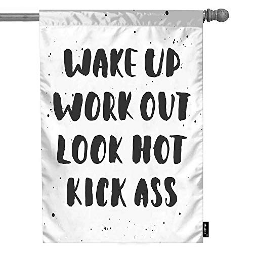 Moslion Word House Flag Wake Up Work Out Look Hot Kick Ass with Doodle Splashes Polka Dot Garden Flags 28x40 Inch Double-Sided Banner Welcome Yard Flag Home Outdoor Decor. Lawn Villa
