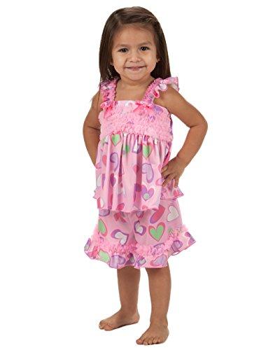 Laura Dare Baby Girls Heart to Heart Frilly PJ Short Set, 24m