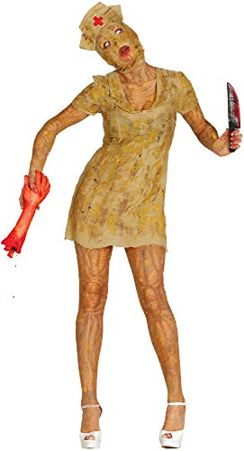 Ladies Silent Zombie Dead Nurse Game Gaming TV Book Film Asylum Halloween Horror Scary Fancy Dress Costume Outfit (UK 12-14) -