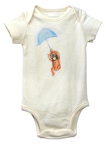 Dordor & Gorgor 100% Organic Cotton Unisex-Baby Infant Short Sleeve Onesies Bodysuits (3M, Monkey) -