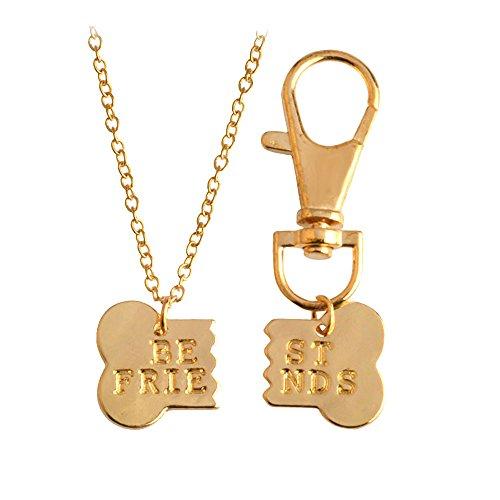 Meiligo Fashion 2 Pcs Couples Alloy Dog Bone Necklace Key Chain Best Friends Puzzle Pendant Matching Dog Tag Necklace Set (Gold-1) (Nintendogs Best Friends Cheats)