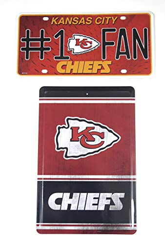 Kansa City Chiefs Set of 2 Metal Wall plaques.Outstanding Wall Decor.