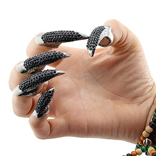 HongH Punk Eagle Claw Ring Gothic Jewelry False Nail Retro Clear Rhinestone Crystal Talon Finger DIY Ring Knuckle Bend Fingertip (5 Pcs Set) (Black) -