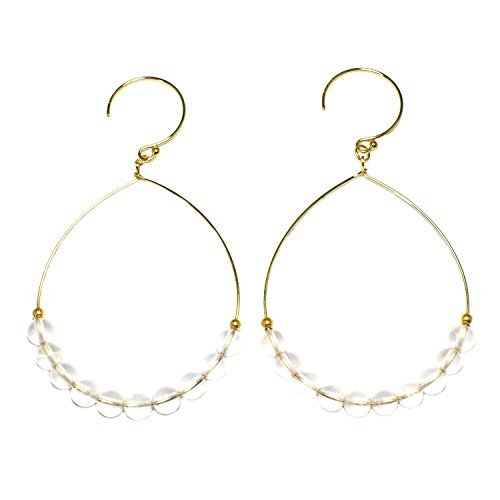 Quartz Earrings Rose Bead (STELLA HANDMADE JEWELRY 14-kt Gold-Filled Brass Wire Hoop Earrings with Rose Quartz Beads)