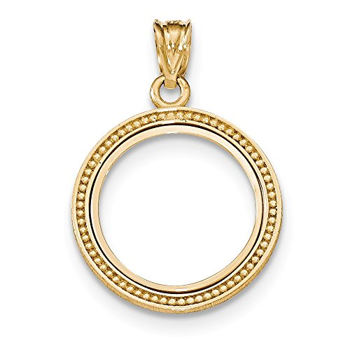 Coins Gold Coin Bezels - Jewelry Stores Network 14k Yellow Gold Beaded Prong 1/10 oz American Eagle Coin Bezel