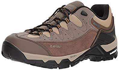Hi-Tec Men's OX Belmont Low I Waterproof Hiking Shoe, Taupe/Brown/Core Gold, 7.5 D US
