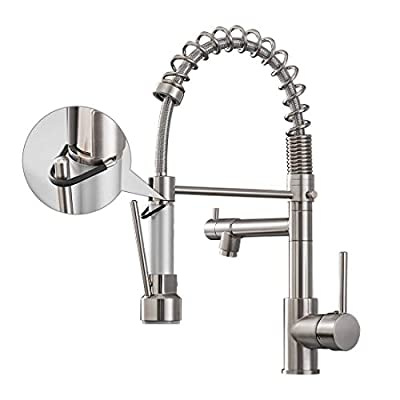 Aimadi Kitchen Faucet with Pull Down Sprayer,Commercial Single Handle High Arc Stainless Steel Brushed Nickel Kitchen Sink Faucet