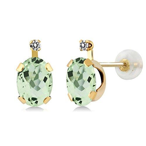 2.01 Ct Oval Green Amethyst White Diamond 14K Yellow Gold Earrings