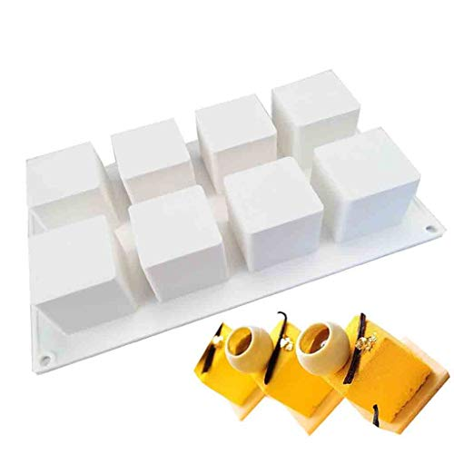 Fine DIY Baking Mold,8 Cavity Silicone Mousse Cake Mold Chocolates Jelly Dessert Fruit Mousse Mould Bakeware Pan for Pastry Fondant Soap Sweet, Baking Mat Mould Kitchen Cake Tin Tool (A)
