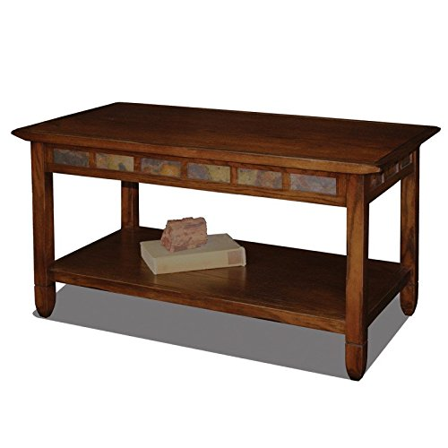 Brown Rectangular Coffee Table with 1-Shelf and Decorative Slate Tiles Made From Wood, Oak Finish Traditional Style Included Cross Scented Candle Tart - Oak Finish Tile Top