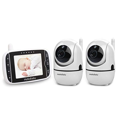 HelloBaby 3.2'' Baby Monitor with 2 Camera, Pan-Tilt-Zoom, Color LCD Screen, Infrared Night Vision, Temperature Display, Lullaby, Two Way Audio