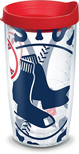 Tervis Genuine MLB Tumbler with Lid, Boston Red Sox, 16 Oz, Clear Boston Red Sox Plastic Tumbler