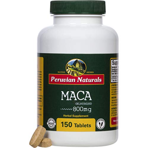 Organic Maca 800mg – 150 Tablets, Maca Root Tablet for Energy Boost, Libido Enhancement, Hormone Balance and Mood Support, Supplements for Men and Women, Gluten-Free and Non-GMO – Peruvian Naturals