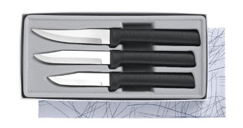 Cheap Rada Cutlery Paring Knife Set – 3 Knives with Stainless Steel Blades And Black Stainless Steel Resin Handles Made in the USA