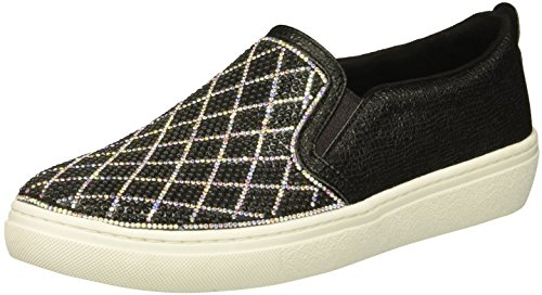 Skechers Women's Goldie Darling. Diamond Shape Rhinestone Quilted Slip on. Sneaker, Black/Silver, 9.5 M US