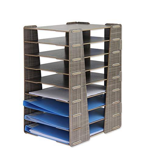 MDYYD Portable Desktop File Folders Office Supplies Information Storage Rack Creative Wooden Desktop Nine Multi-Layer…