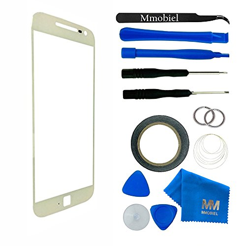 Front Glass for MOTOROLA Moto G4 XT1622 XT1625 White Display Touchscreen incl 12pcs Tool Kit / Pre-cut Sticker / Tweezers/ Roll of 2mm Adhesive Tape / Suction Cup / Metal Wire / cleaning cloth MMOBIEL