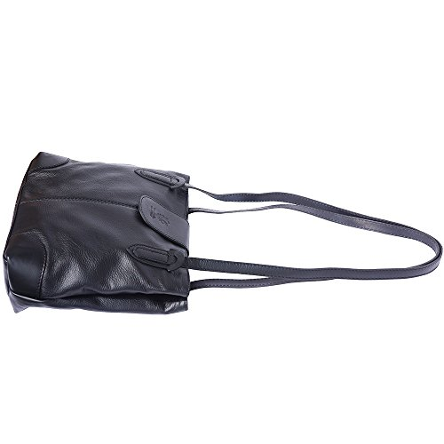 Doppi 015 Spalla Borsa Leather A Nero Market Con Florence Manici qgYwfpp
